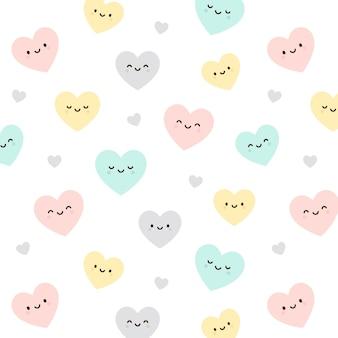 Emotikony serca bezszwowe tło wzór