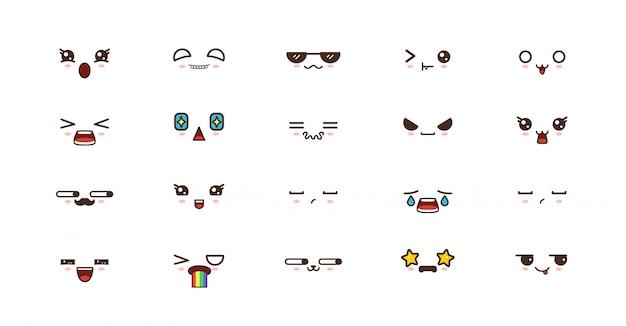 Emotikony smile kawaii. japońskie emoji