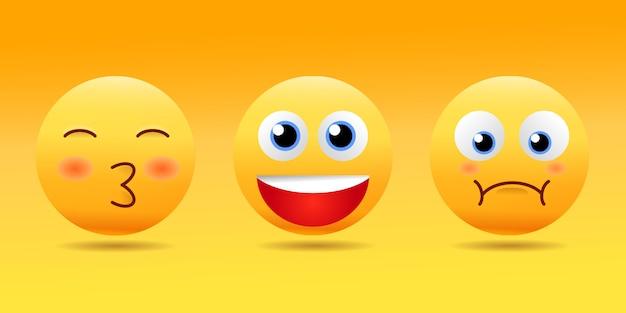 Emotikony smiley face z zestawem różnych wyrazów twarzy w błyszczącym realistycznym 3d