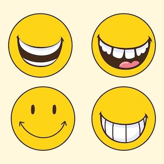 Emotikony uśmiechają się szczęśliwie