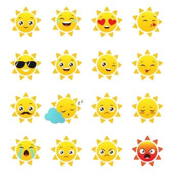 Emotikony wektorowe słońce na białym tle