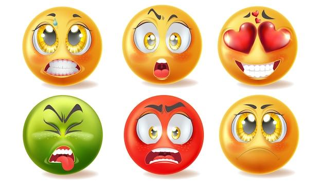 Emotikony z ilustracjami różnych twarzy