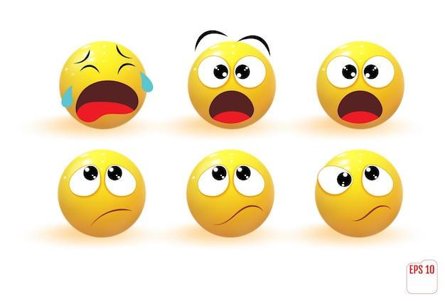 Emotikony z różnymi zestawami wyrażeń