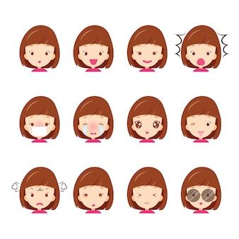 Emotikony zestaw słodkie dziewczyny z różnymi emocjami