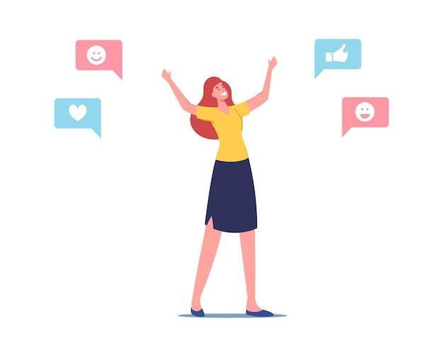 Empatia, ilustracja inteligencji emocjonalnej. wesoła postać kobieca z pozytywnymi ikonami mediów społecznościowych wokół