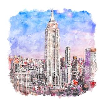 Empire state building w nowym jorku akwarela szkic ręcznie rysowane ilustracji