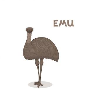 Emu kreskówka na białym tle na białym tle
