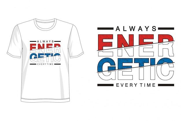 Energetyczna typografia koszulki z nadrukiem