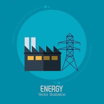 Energetyczny fabryki wierza elektryczności symbolu błękita tło