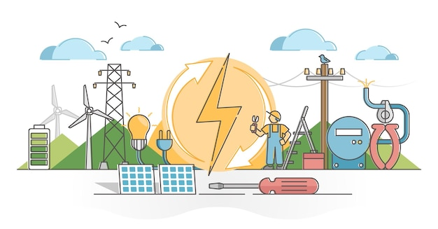 Energia elektryczna jako koncepcja zarys zasilania napięciem wiatrowym i słonecznym