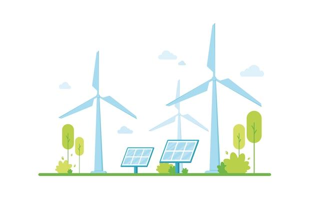 Energia Odnawialna, Panele Słoneczne. Czysta Energia Elektryczna Z Odnawialnych źródeł Wiatru. Przyjazny Dla środowiska. Zielona Strefa. Ochrona I Troska O Przyrodę. Wsparcie Klimatyczne Premium Wektorów