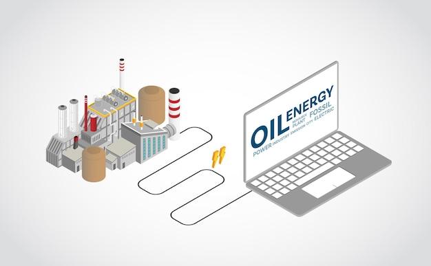 Energia oleju napędowego, elektrownia na olej napędowy z grafiką izometryczną