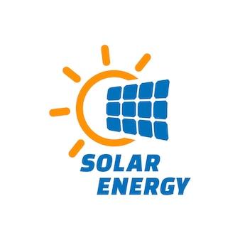 Energia słoneczna emblemat wektor panel słoneczny znak