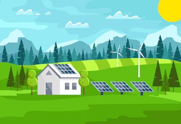 Energia słoneczna, wiatrowa. zielona energia, ekologiczny dom tradycyjny i nowoczesny.