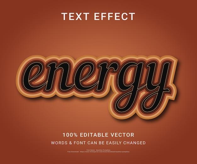 Energia w pełni edytowalny efekt tekstowy