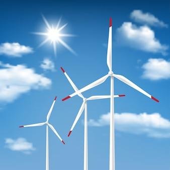 Energia wiatrowa - turbiny wiatrowe z błękitne niebo sunny cloudscape tło