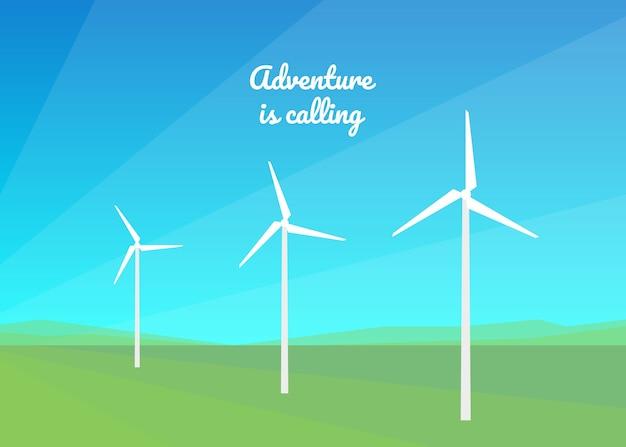 Energia wiatrowa. wiatraki wytwarzają energię wiatru. czysta energia środowiska dla planety.