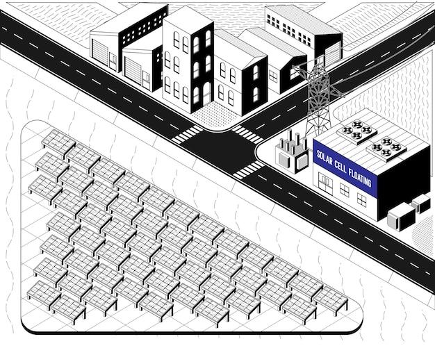 Energia z ogniw słonecznych, pływająca elektrownia z ogniwami słonecznymi w grafice izometrycznej