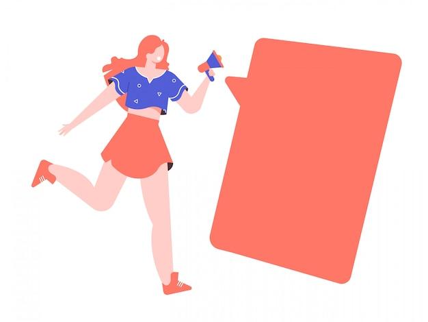 Energiczna dziewczyna biegnie z głośnikiem. ważna wiadomość. pusty dymek dla tekstu. płaska ilustracja.