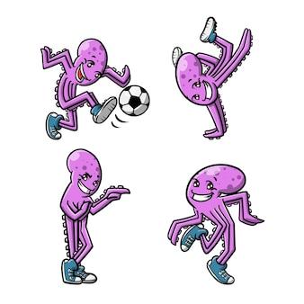 Energiczna kreskówka ośmiornicy