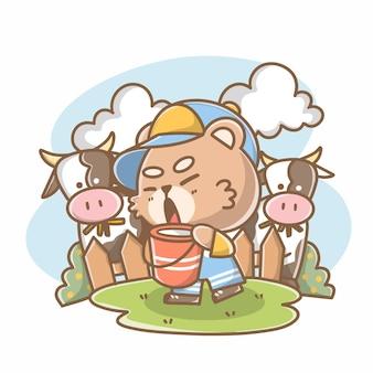 Energiczny rolnik teddy doodle ilustracja