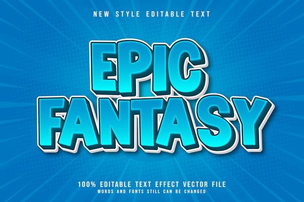 Epic fantasy edytowalny efekt tekstowy 3-wymiarowy wytłoczony komiks w stylu komiksowym