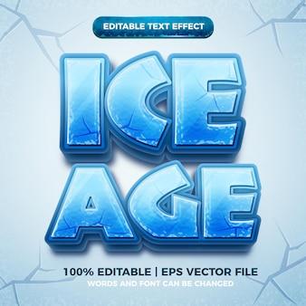 Epoka lodowcowa 3d mrożony edytowalny efekt tekstowy w stylu kreskówki