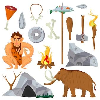 Epoki kamiennej lub neandertalczyka wektorowe ikony i postacie ustawione.