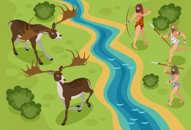 Era kamienia łupanego izometryczny z symbolami polowania na jelenie