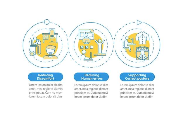 Ergonomiczny projekt infografika ilustracja szablon