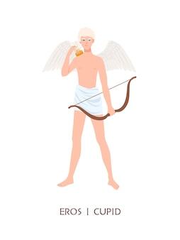 Eros lub kupidyn - bóg lub bóstwo miłości i namiętności w starożytnej greckiej i rzymskiej religii lub mitologii. ładny chłopak ze skrzydłami, strzałami i łukiem na białym tle