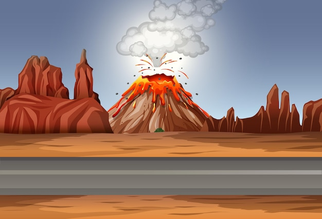 Erupcja wulkanu na pustyni w ciągu dnia