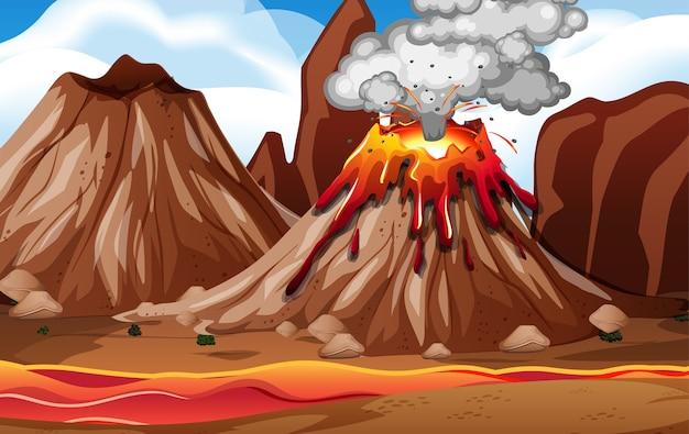 Erupcja wulkanu na scenie przyrody w ciągu dnia