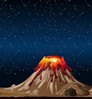 Erupcja wulkanu na scenie przyrody w nocy