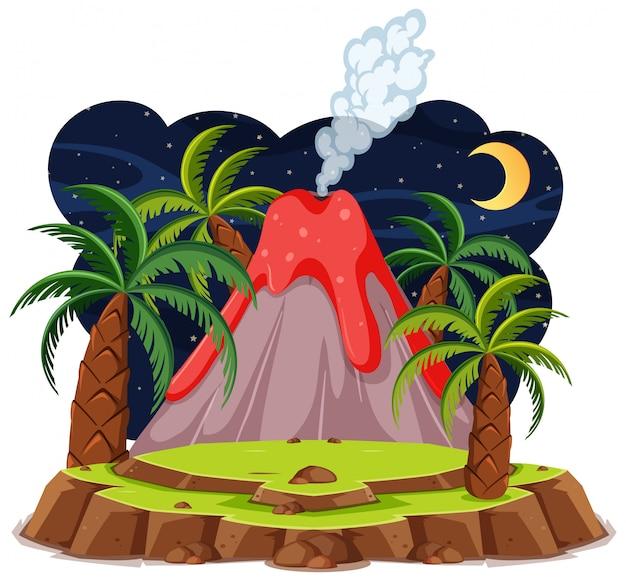 Erupcja wulkanu ustawić styl kreskówka na białym tle