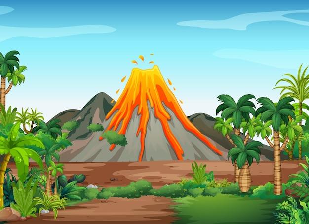 Erupcja wulkanu w tle sceny zewnętrznej