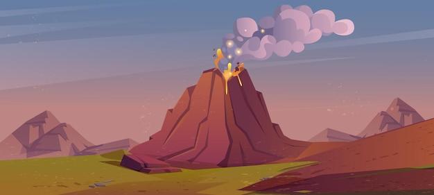 Erupcja wulkanu z ogniem lawy i dymem