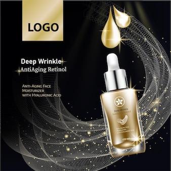 Esencja kosmetyczna zawarta w szablonie butelki z kroplami do projektowania prezentacja plakatów reklamowych