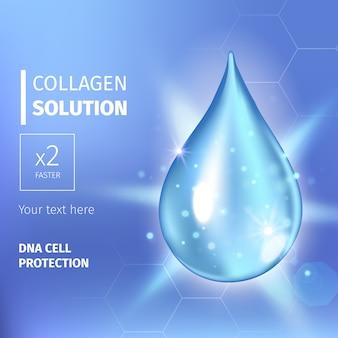 Esencja kropli olejku kolagenowego. błyszcząca kropelka surowicy premium. ilustracja. rozwiązanie kosmetyczne