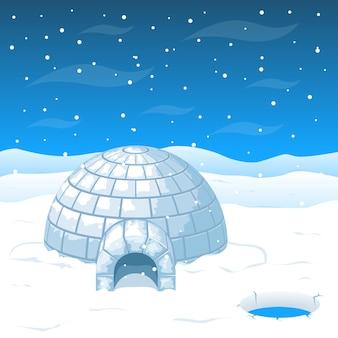 Eskimoski zimny dom z bloków lodu na antarktydzie. dom kopułowy na zimę i dom na północ od zimna
