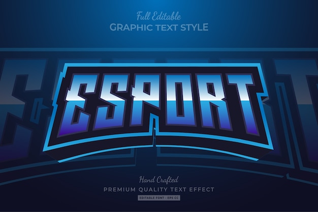 Esport blue editable premium text style effect