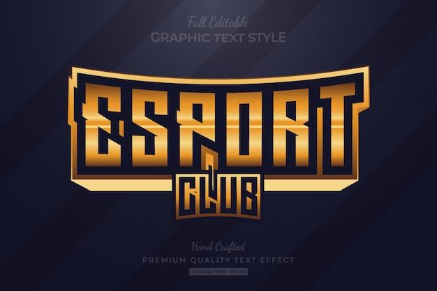 Esport club golden edytowalny styl czcionki premium text effect