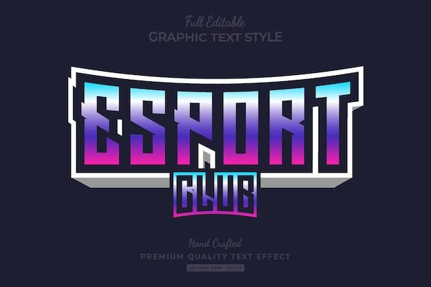 Esport club gradient edytowalny efekt tekstowy premium