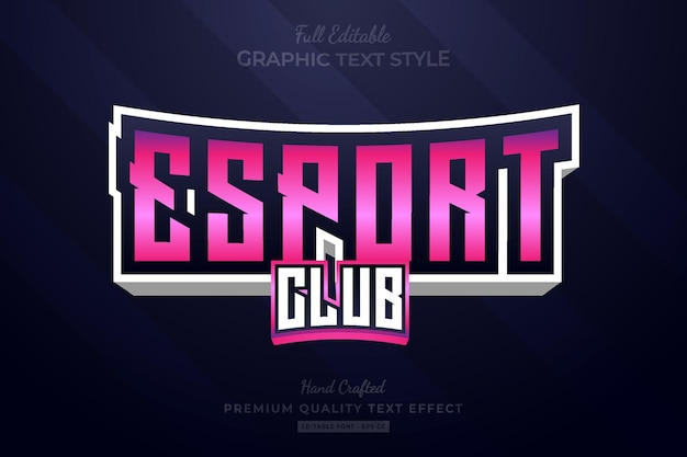 Esport club team edytowalny efekt tekstowy premium