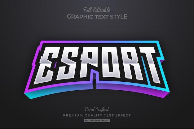 Esport gaming team gradient edytowalny styl czcionki z efektem tekstowym