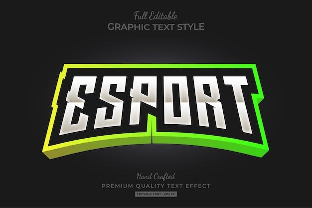 Esport gradient edytowalny efekt tekstu w stylu premium