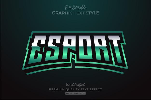 Esport green edytowalny efekt tekstu w stylu premium