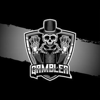 Esport logo ikona postaci czaszki hazardzisty