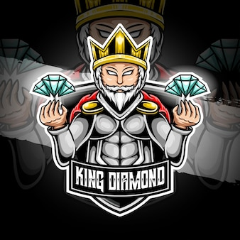 Esport logo król diament ikona postaci