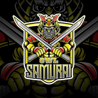 Esport logo sowa samurajska postać